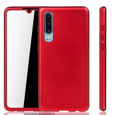 Huawei P30 Handy-Hülle Schutz-Case Full-Cover Panzer Schutz Glas Rot