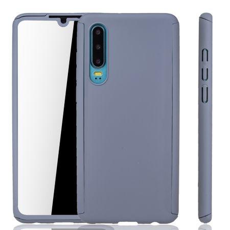 Huawei P30 Handy-Hülle Schutz-Case Full-Cover Panzer Schutz Glas Grau