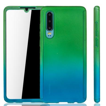 Huawei P30 Handy-Hülle Schutz-Case Full-Cover Panzer Schutz Glas Grün / Blau