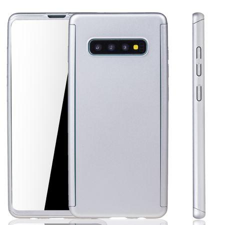 Samsung Galaxy S10 Handy-Hülle Schutz-Case Full-Cover Panzer Schutz Folie Silber – Bild 1