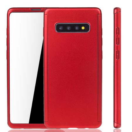 Samsung Galaxy S10 Plus Handy-Hülle Schutz-Case Full-Cover Panzer Schutz Folie Rot