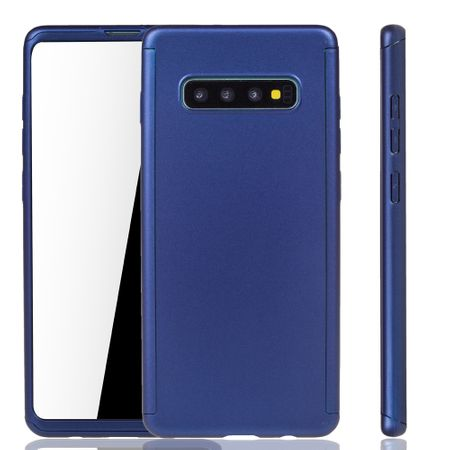 Samsung Galaxy S10 Plus Handy-Hülle Schutz-Case Full-Cover Panzer Schutz Folie Blau