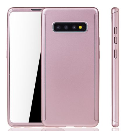 Samsung Galaxy S10 Plus Handy-Hülle Schutz-Case Full-Cover Panzer Schutz Folie Rose
