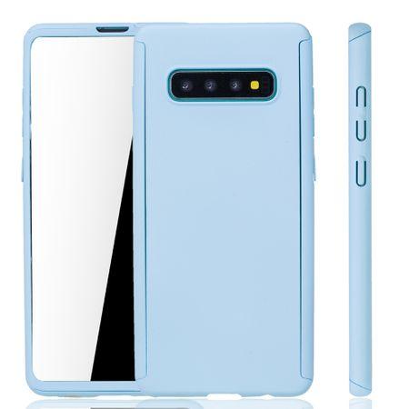 Samsung Galaxy S10 Plus Handy-Hülle Schutz-Case Full-Cover Panzer Schutz Folie Hellblau