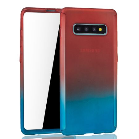 Samsung Galaxy S10 Plus Handy-Hülle Schutz-Case Full-Cover Panzer Schutz Folie Rot / Blau – Bild 2