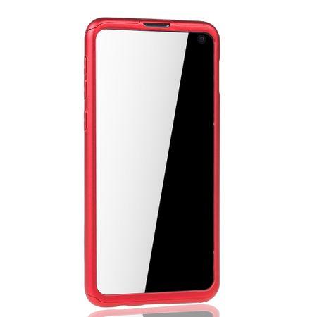 Samsung Galaxy S10e Handy-Hülle Schutz-Case Full-Cover Panzer Schutz Folie Rot – Bild 3
