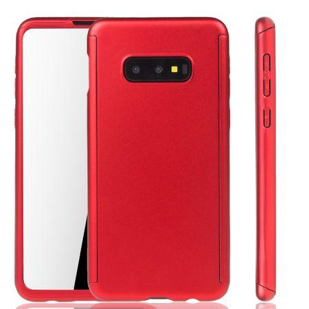 Samsung Galaxy S10e Handy-Hülle Schutz-Case Full-Cover Panzer Schutz Folie Rot