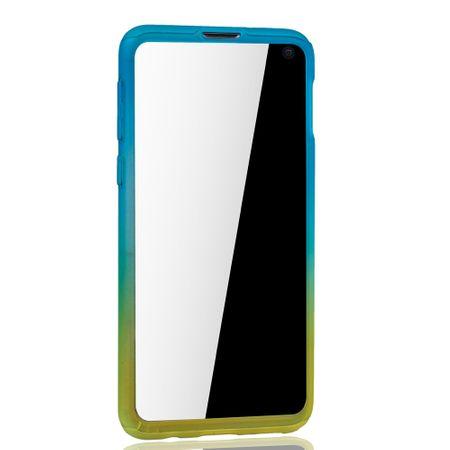 Samsung Galaxy S10e Handy-Hülle Schutz-Case Full-Cover Panzer Schutz Folie Blau / Gelb – Bild 3