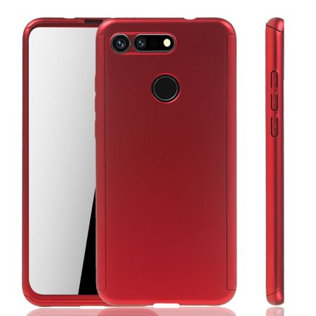 Huawei Honor View 20 Handy-Hülle Schutz-Case Full-Cover Panzer Schutz Glas Rot