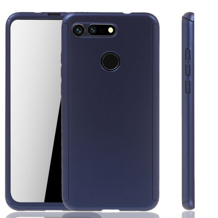Huawei Honor View 20 Handy-Hülle Schutz-Case Full-Cover Panzer Schutz Glas Blau