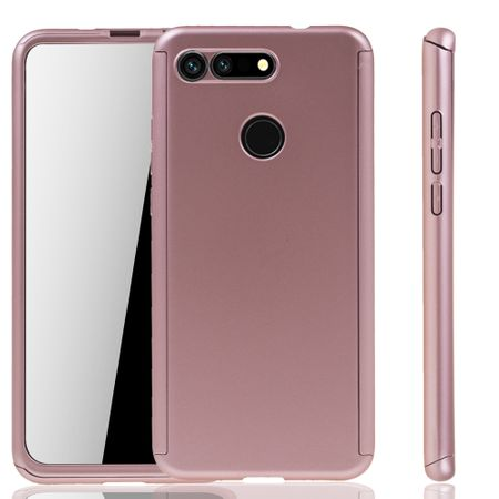 Huawei Honor View 20 Handy-Hülle Schutz-Case Full-Cover Panzer Schutz Glas Rose