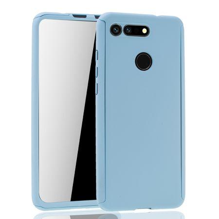 Huawei Honor View 20 Handy-Hülle Schutz-Case Full-Cover Panzer Schutz Glas Hellblau – Bild 2