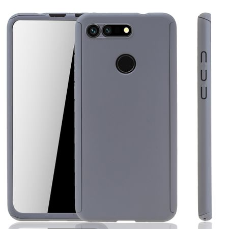 Huawei Honor View 20 Handy-Hülle Schutz-Case Full-Cover Panzer Schutz Glas Grau