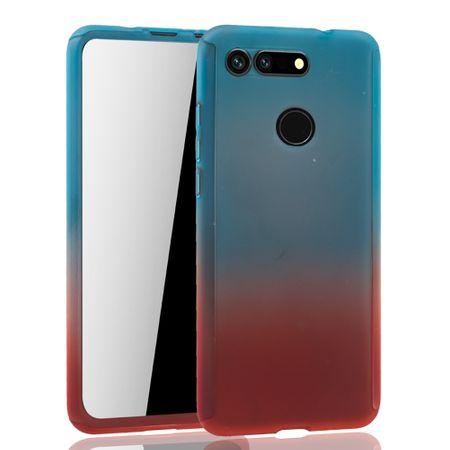 Huawei Honor View 20 Handy-Hülle Schutz-Case Full-Cover Panzer Schutz Glas Blau / Rot – Bild 2