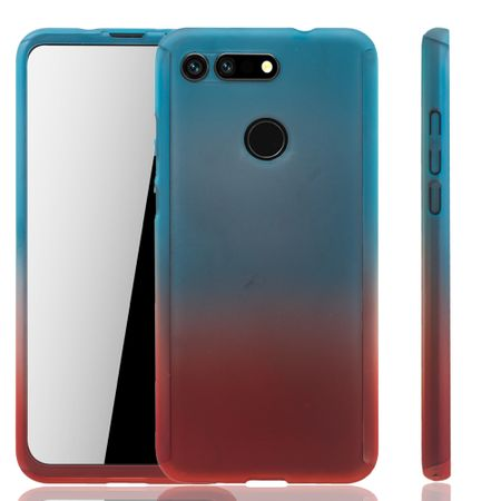 Huawei Honor View 20 Handy-Hülle Schutz-Case Full-Cover Panzer Schutz Glas Blau / Rot