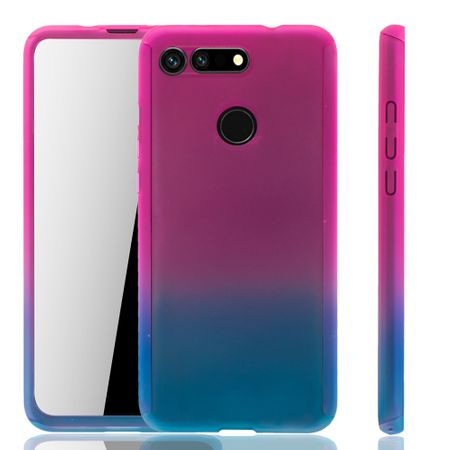 Huawei Honor View 20 Handy-Hülle Schutz-Case Full-Cover Panzer Schutz Glas Pink / Blau