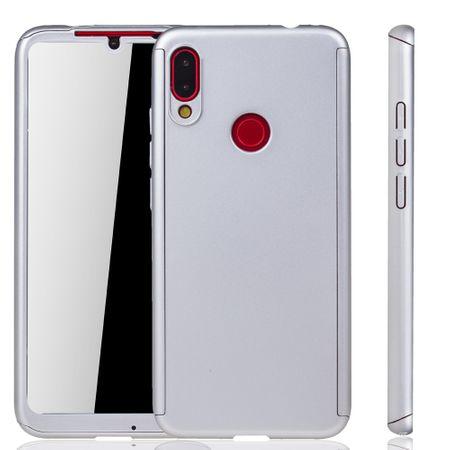 Xiaomi Redmi Note 7 Handy-Hülle Schutz-Case Full-Cover Panzer Schutz Glas Silber
