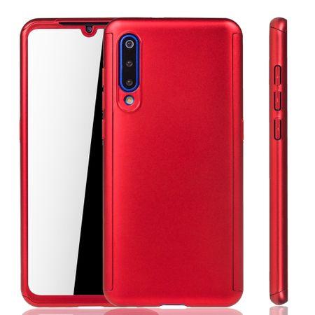 Xiaomi Mi 9 Handy-Hülle Schutz-Case Full-Cover Panzer Schutz Glas Rot