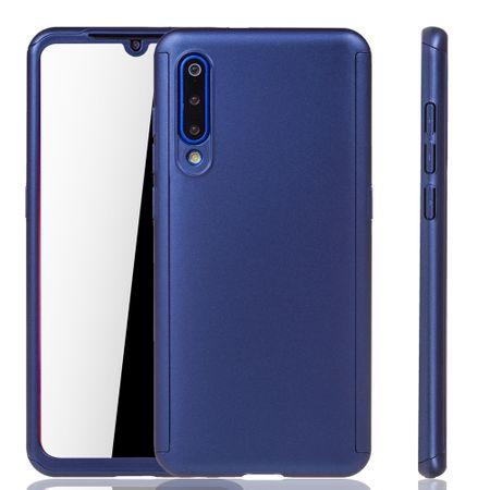 Xiaomi Mi 9 Handy-Hülle Schutz-Case Full-Cover Panzer Schutz Glas Blau