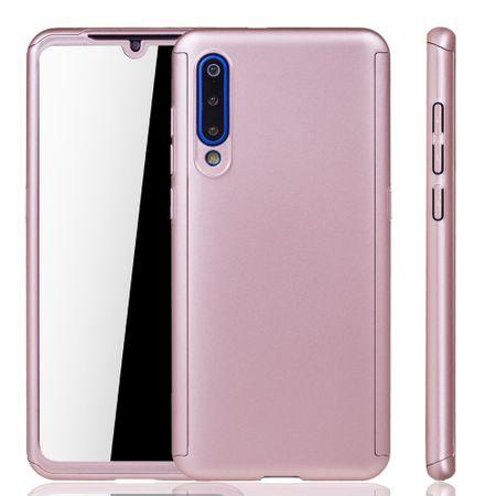 Xiaomi Mi 9 Handy-Hülle Schutz-Case Full-Cover Panzer Schutz Glas Rose