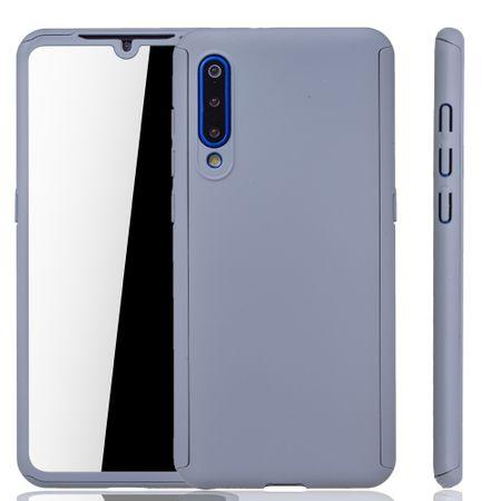 Xiaomi Mi 9 Handy-Hülle Schutz-Case Full-Cover Panzer Schutz Glas Grau