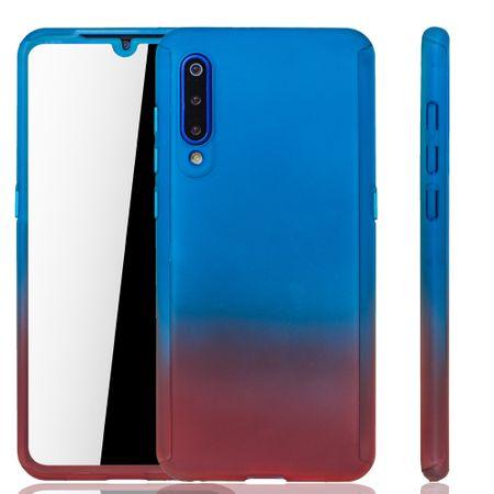 Xiaomi Mi 9 Handy-Hülle Schutz-Case Full-Cover Panzer Schutz Glas Blau / Rot