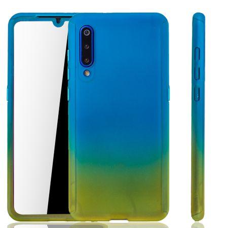 Xiaomi Mi 9 Handy-Hülle Schutz-Case Full-Cover Panzer Schutz Glas Blau / Gelb