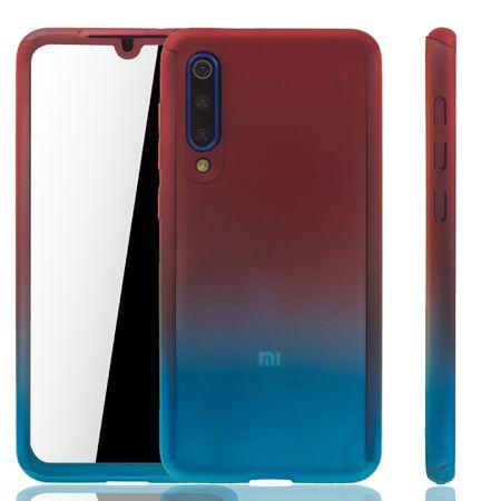 Xiaomi Mi 9 SE Handy-Hülle Schutz-Case Full-Cover Panzer Schutz Glas Rot / Blau
