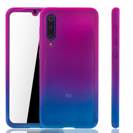 Xiaomi Mi 9 SE Handy-Hülle Schutz-Case Full-Cover Panzer Schutz Glas Pink / Blau