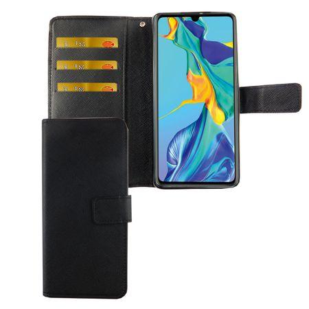 Huawei P30 Tasche Handy-Hülle Schutz-Cover Flip-Case mit Kartenfach Schwarz
