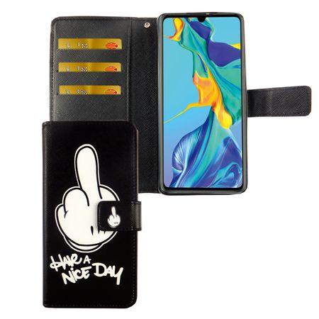 Huawei P30 Tasche Handy-Hülle Schutz-Cover Flip-Case mit Kartenfach Have a nice day