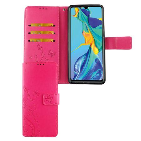 Huawei P30 Handy-Hülle Schutz-Tasche Cover Flip-Case Kartenfach Pink