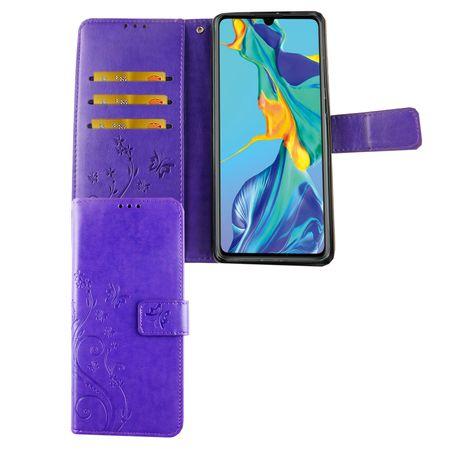 Huawei P30 Handy-Hülle Schutz-Tasche Cover Flip-Case Kartenfach Violett