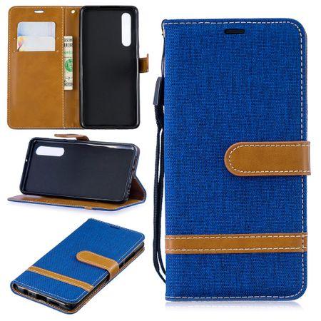 Huawei P30 Handy-Hülle Schutz-Tasche Case Cover Kartenfach Etui Wallet Blau
