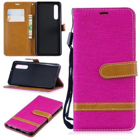 Huawei P30 Handy-Hülle Schutz-Tasche Case Cover Kartenfach Etui Wallet Pink