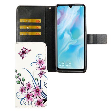 Huawei P30 Lite Tasche Handy-Hülle Schutz-Cover Flip-Case mit Kartenfach Lotusblume
