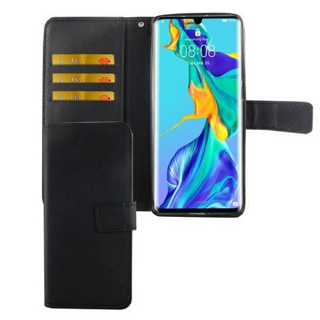 Huawei P30 Pro Tasche Handy-Hülle Schutz-Cover Flip-Case mit Kartenfach Schwarz