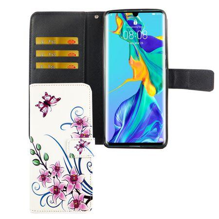 Huawei P30 Pro Tasche Handy-Hülle Schutz-Cover Flip-Case mit Kartenfach Lotusblume