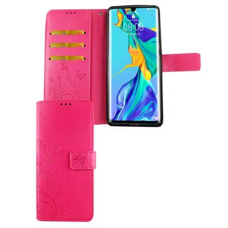 Huawei P30 Pro Handy-Hülle Schutz-Tasche Cover Flip-Case Kartenfach Pink
