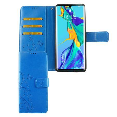 Huawei P30 Pro Handy-Hülle Schutz-Tasche Cover Flip-Case Kartenfach Blau