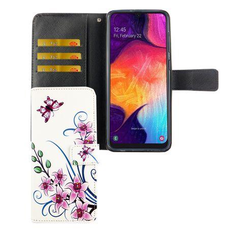 Samsung Galaxy A50 Tasche Handy-Hülle Schutz-Cover Flip-Case mit Kartenfach Lotusblume