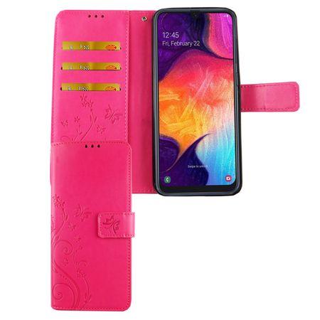 Samsung Galaxy A50 Handy-Hülle Schutz-Tasche Cover Flip-Case Kartenfach Pink
