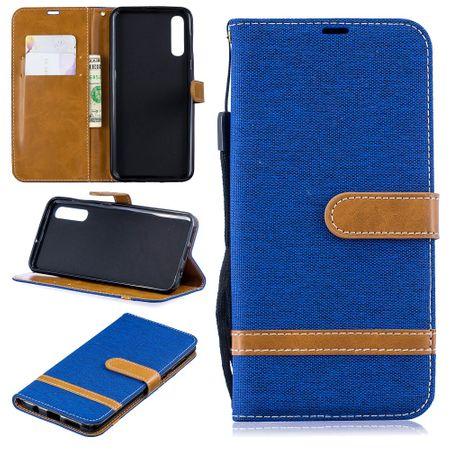Samsung Galaxy A50 Handy-Hülle Schutz-Tasche Case Cover Kartenfach Etui Wallet Blau