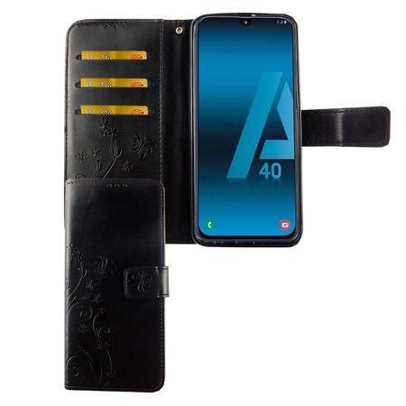 Samsung Galaxy A40 Handy-Hülle Schutz-Tasche Cover Flip-Case Kartenfach Schwarz