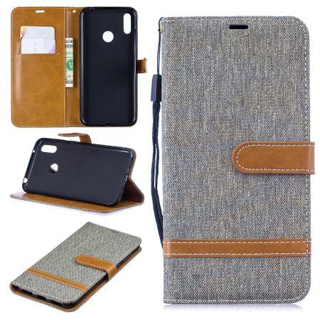 Huawei Y7 2019 Handy-Hülle Schutz-Tasche Case Cover Kartenfach Etui Wallet Grau