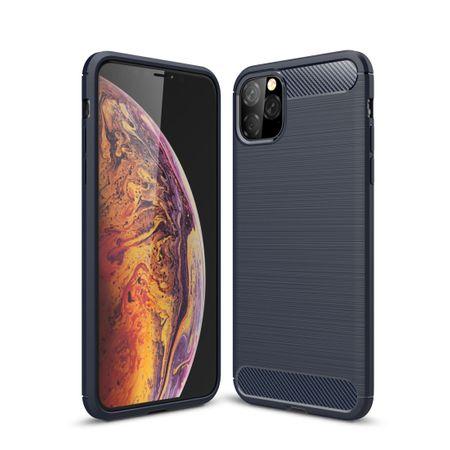 Apple iPhone 11 Pro TPU Case Carbon Fiber Optik Brushed Schutz Hülle Blau