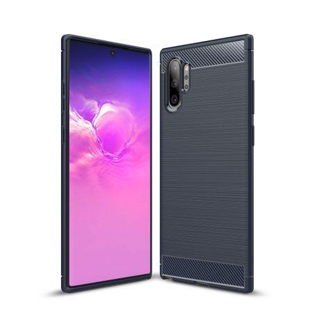 Samsung Galaxy Note 10 Plus TPU Case Carbon Fiber Optik Brushed Schutz Hülle Blau
