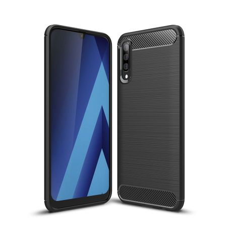Samsung Galaxy A50s TPU Case Carbon Fiber Optik Brushed Schutz Hülle Grau
