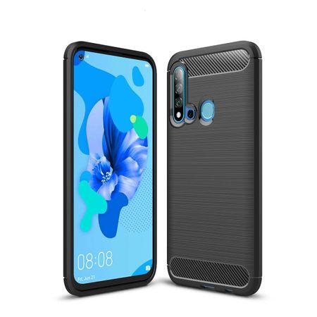 Huawei P20 Lite 2019 TPU Case Carbon Fiber Optik Brushed Schutz Hülle Schwarz