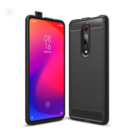Xiaomi Mi 9T TPU Case Carbon Fiber Optik Brushed Schutz Hülle Grau
